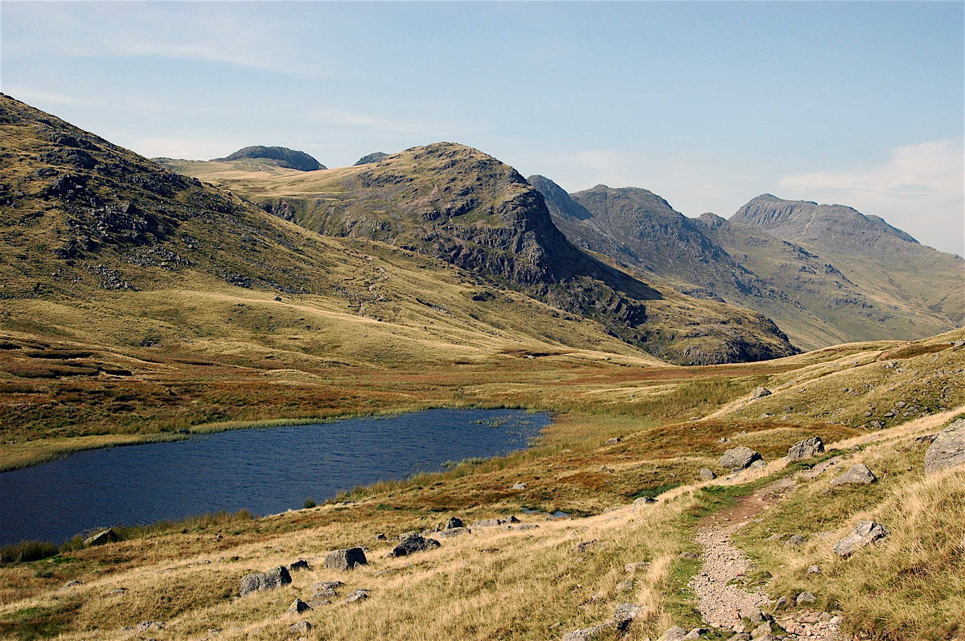 RED TARN WITH CRINKLE CRAGS AND BOWFELL BEYOND
