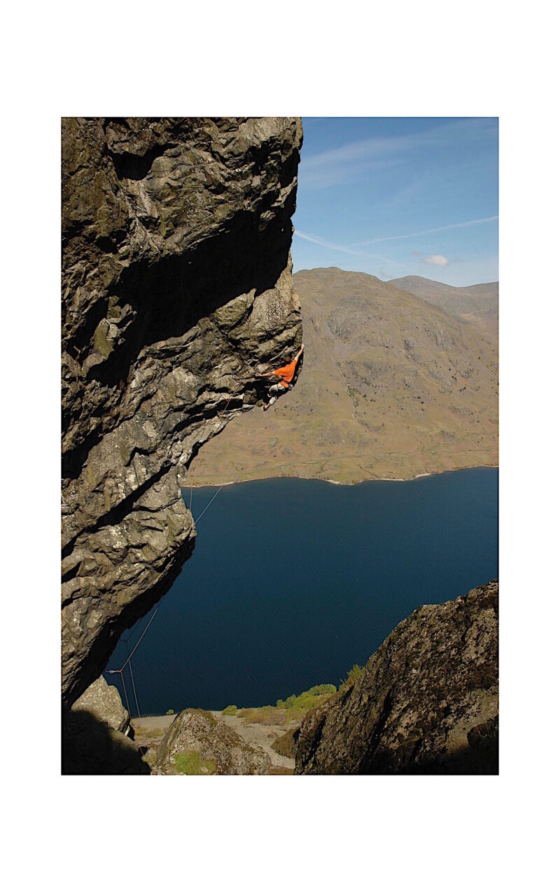 A moment in Lake District rock climbing history, Dave Birkett makes the famous first ascent of his route on Cam Crag above Wastwater in 2005.