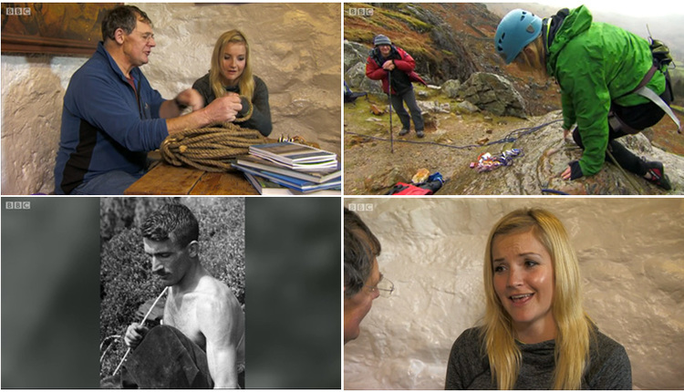 Bill with Helen Skelton in the Old Dungeon Ghyll looking at Jim's old climbing rope and some of Bill's books