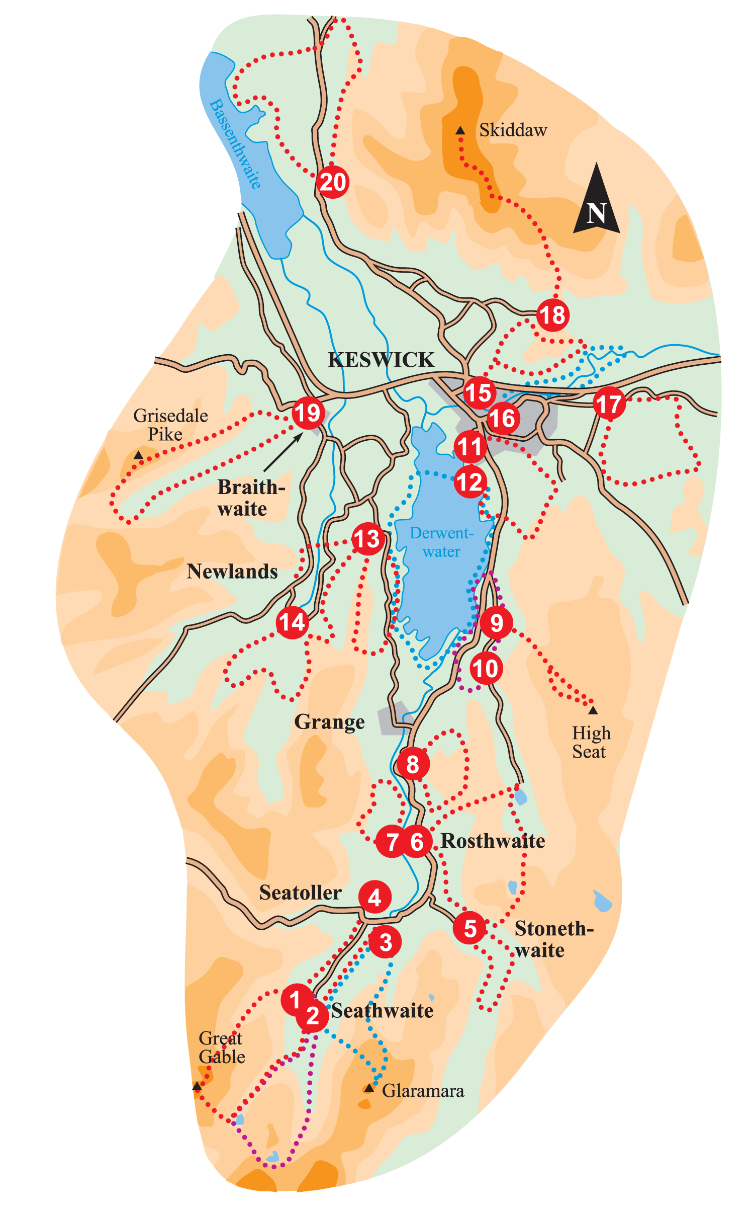 Walk Borrowdale and Keswick Overview Map