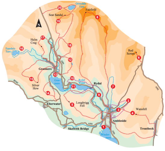 Walk Ambleside, Rydal and Grasmere Overall Map