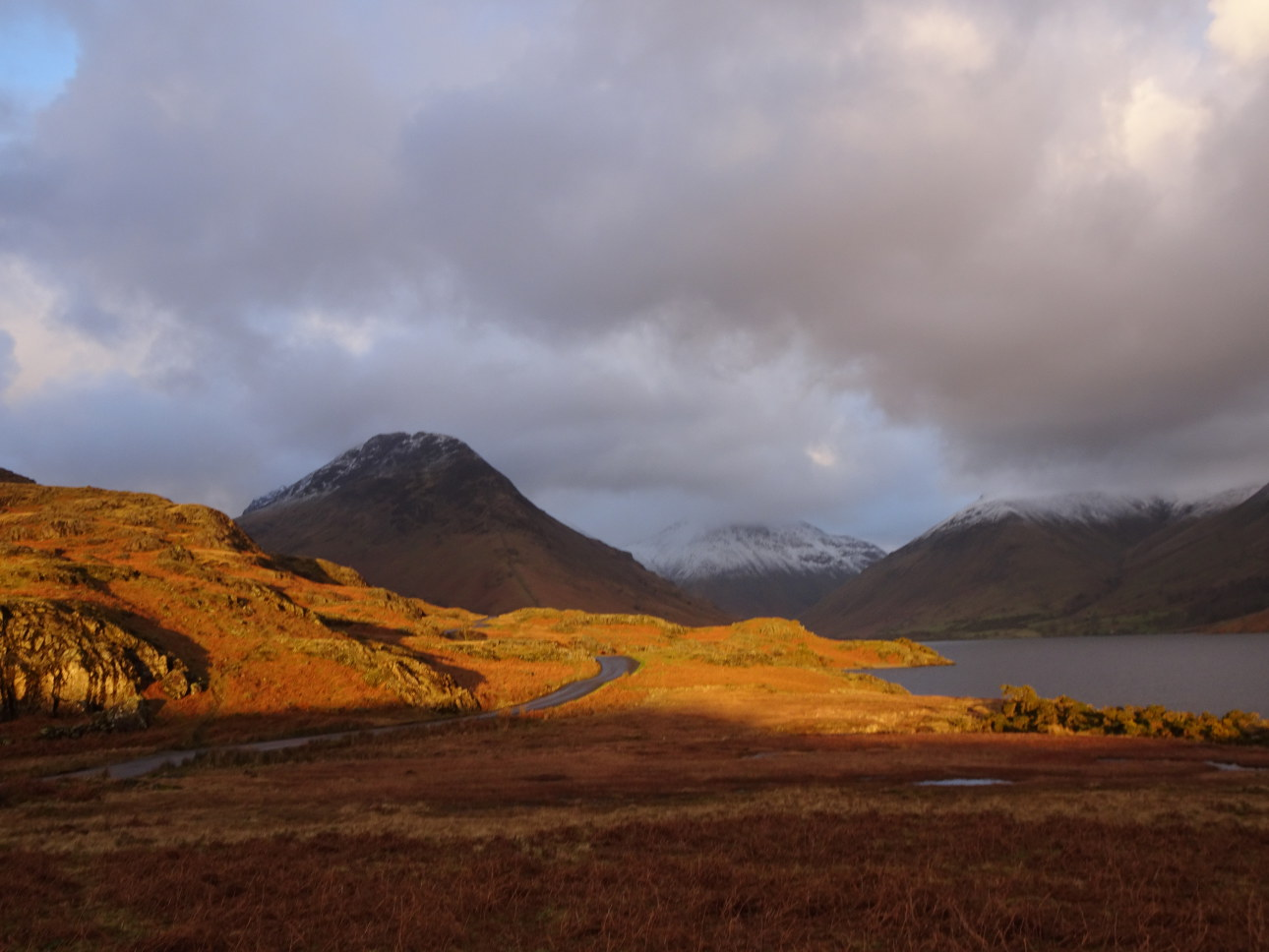 A blast of light illuminates the road leading to Wasdale Head.  Taken 22/1/20 at 4:03pm.