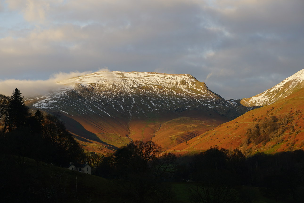 Evening light over Grasmere. Seat Sandal in the background and Allan Bank in the foreground. Taken on 7/12/20 at 3:03 pm.