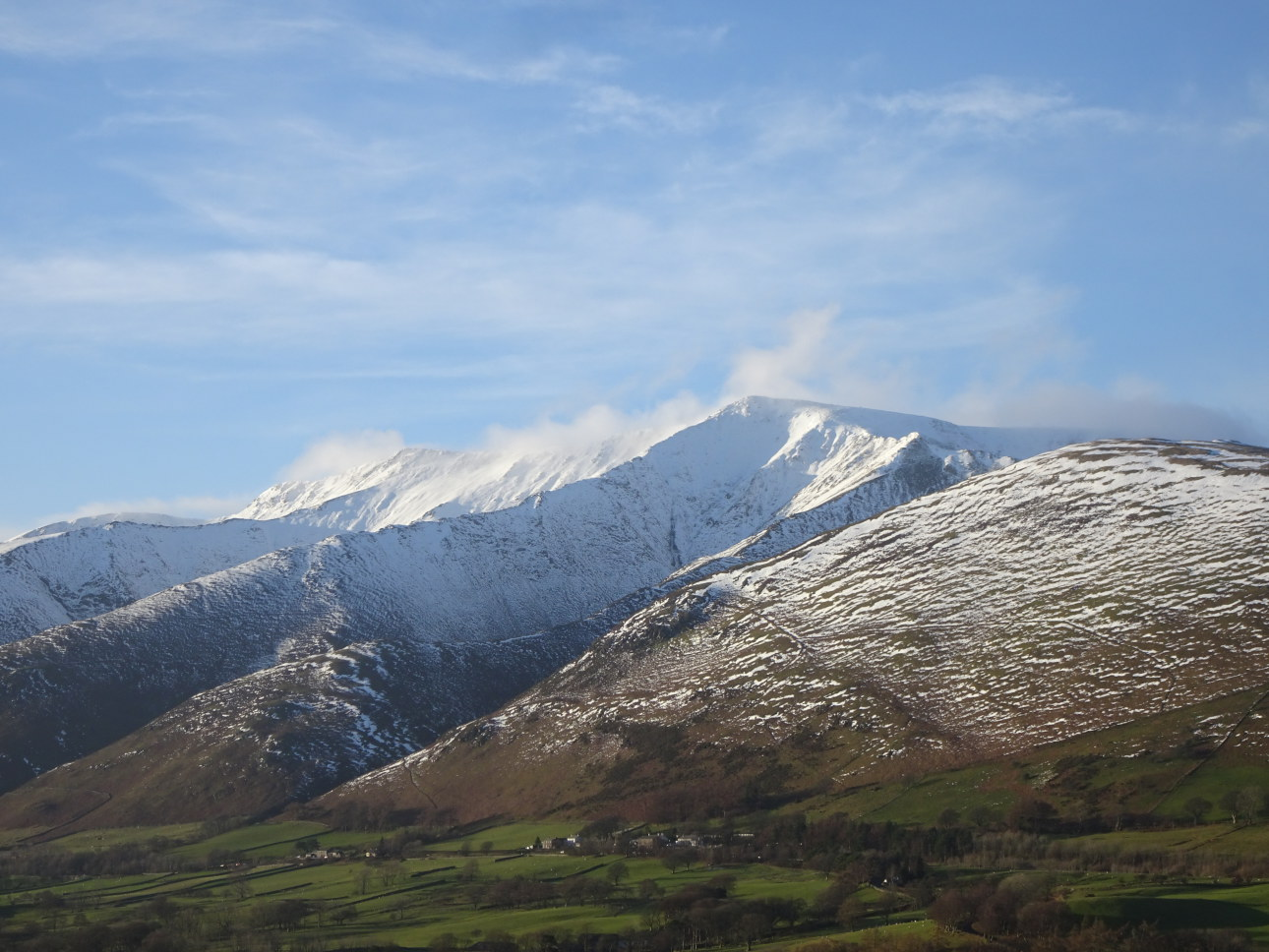 Blencathra with Hallsfell Ridge, rising to the summit,  seen centrally. Taken on 5/12/20 at 3:24pm.