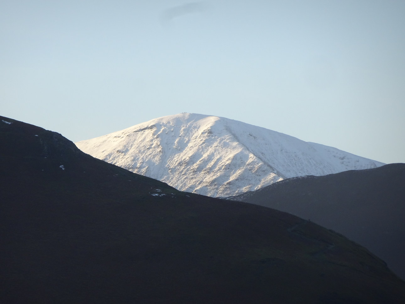 Grisedale Pike from the shoreline of  Derwentwater. Taken on 5/12/20 at 3:50pm.