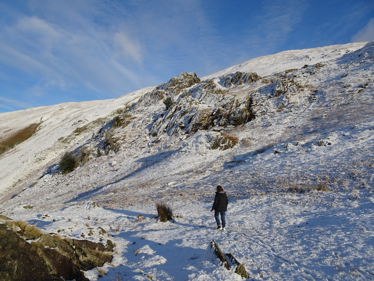 Heading down – these crags are marked as Butter Crags on the OS map (but they aren't). Taken at 3:01pm.