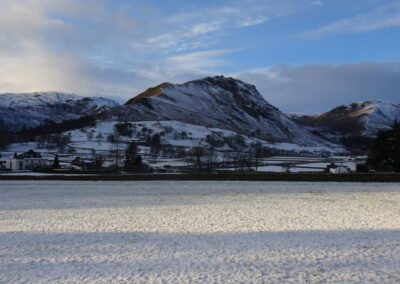 Back in the valley, looking to Helm Crag, with the mists gone and the long shadows of evening gathering. Taken at 3:55pm.