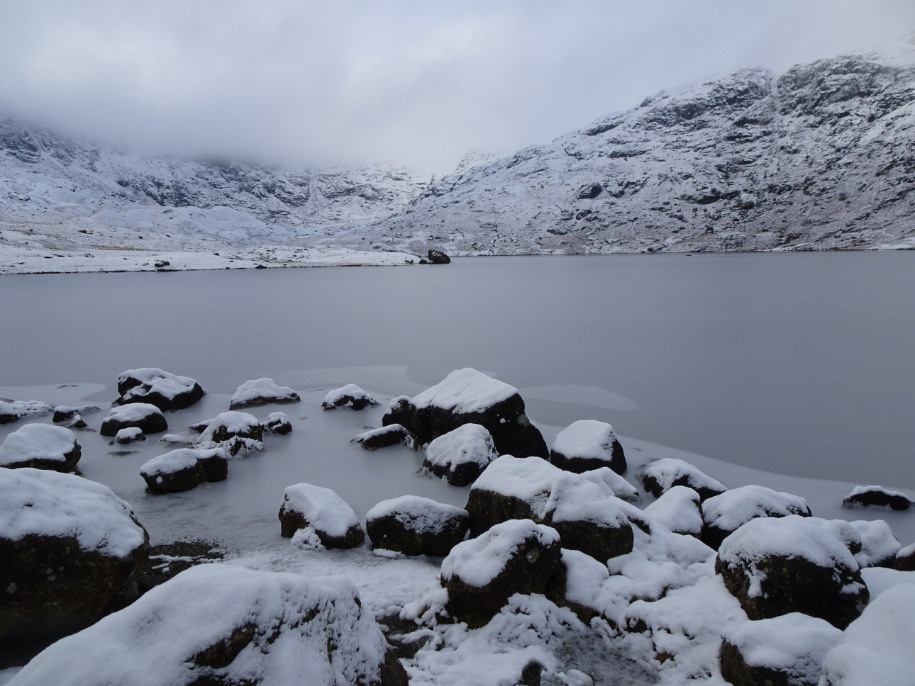 Easedale Tarn, iced over and snowclad.