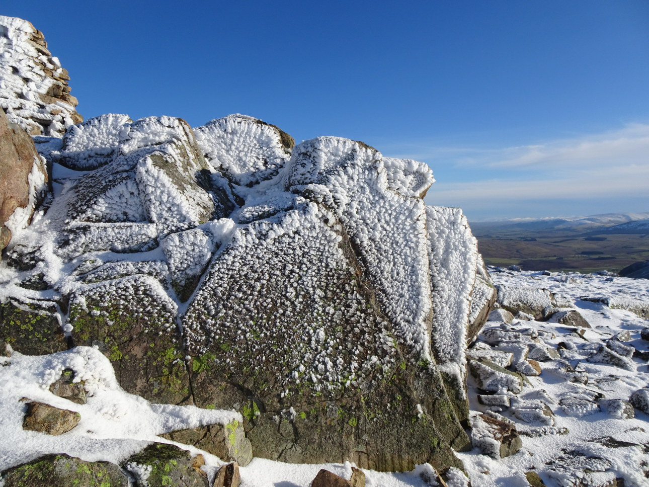 Frosted summit rocks Carrock Fell. Good enough to eat! Taken at  2:42pm.