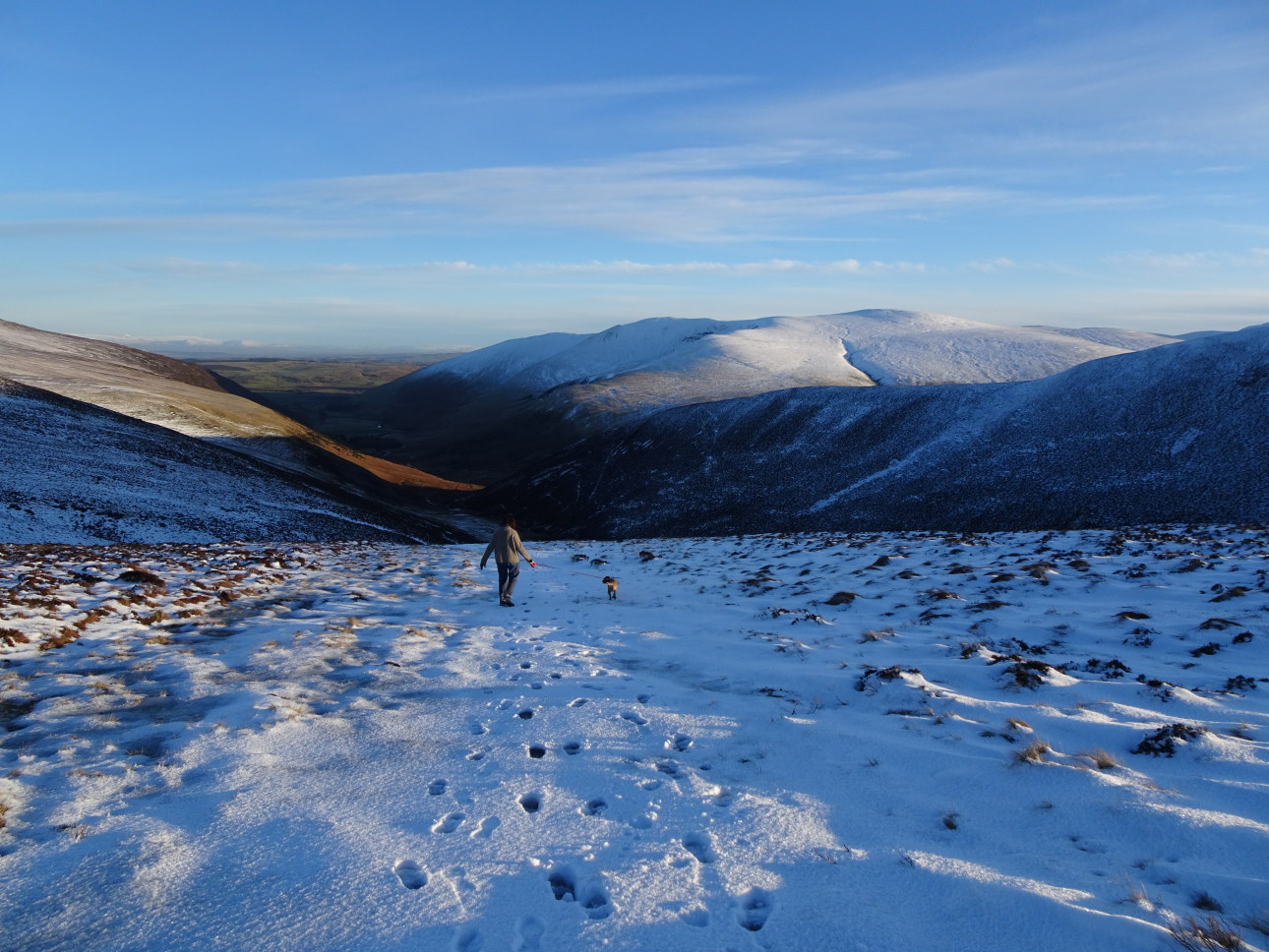Descending  into  the Caldew Valley with Bowscale Fell to the right. Taken at  4:26pm.