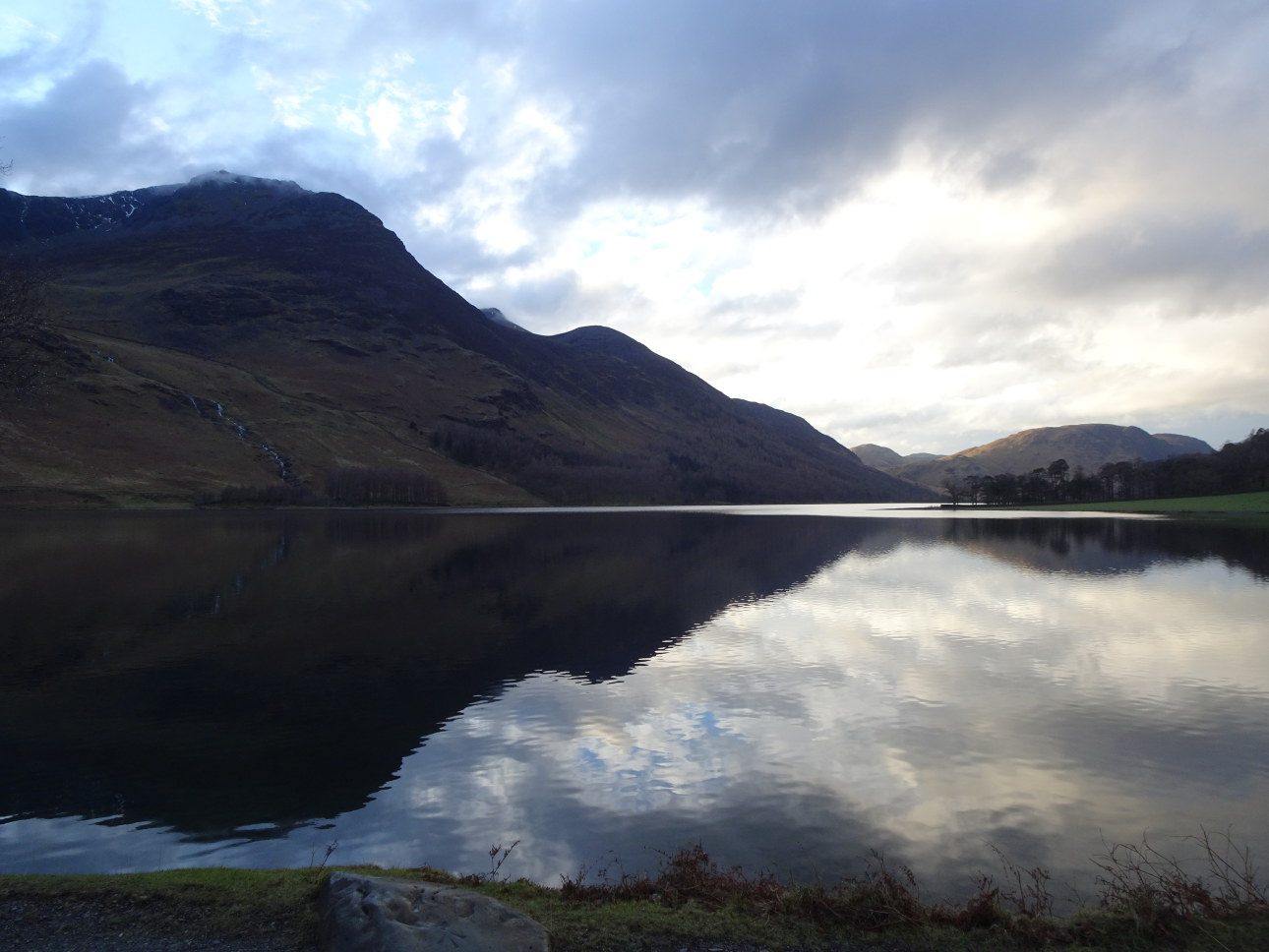 Reflections in the eye of Buttermere with High Stile black and dominant. Taken at 5:07pm.