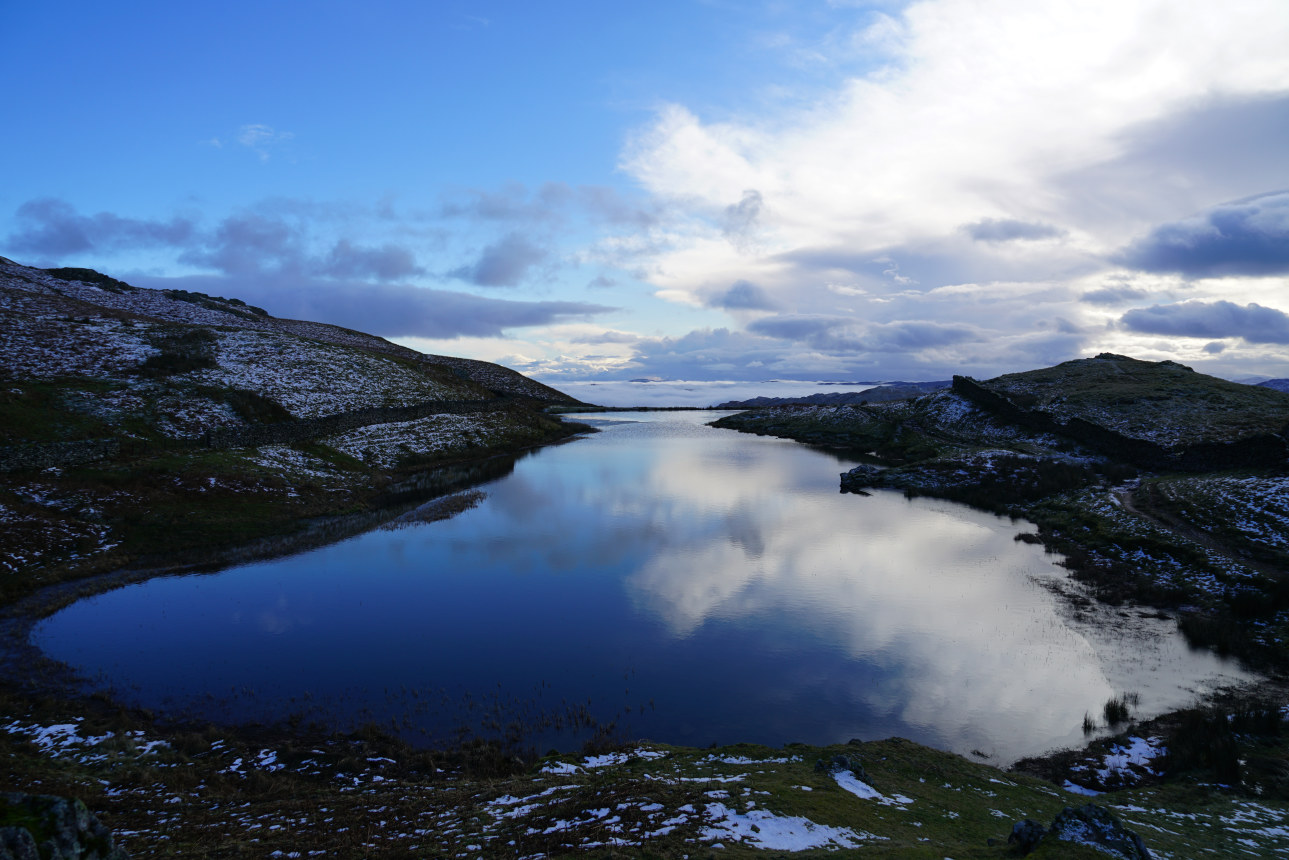 My room of sky; clouds reflected from Alcock Tarn. Taken at 2:13pm.