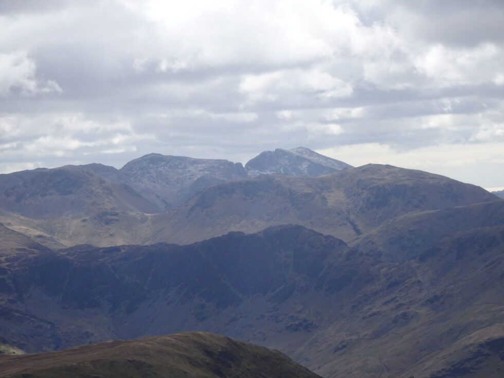LOOKING TO THE LIGHTLY SNOWCLAD SCAFELLS