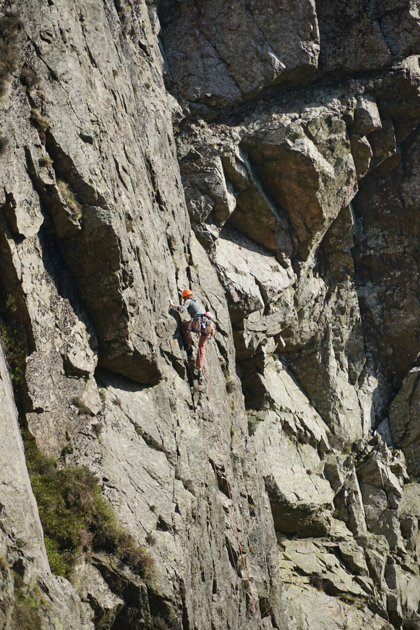 Rachel Howland on the classic Slabs Route 1